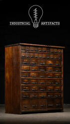 Antique Industrial 55 Drawer Wooden Hardware Store Cabinet