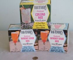 Vintage Bar-tenders Instant Whiskey Sour And Collins Mix 3 Sealed Boxes Of 12