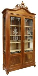 Antique Bookcase, Italian Walnut Etched Glass, Display, Bookcase, Early 1900s