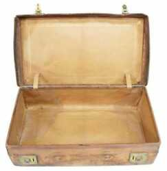 Antique Suitcase, Monogrammed Leather, Gilt Embossed Interior, Early 1900s