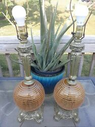 Pair Of 70s Table Lamps Hollywood Regency Amber Glass Globe Rare