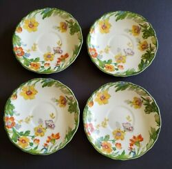 Lot Of 4 Vintage Steubenville China 5 3/4 Saucers White W/ Red And Yellow Flowers