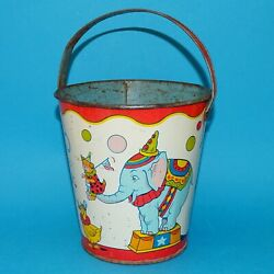 Vintage J. Chein Beach Sand Pail Large Tin Litho Costumed Circus Animals C1960s