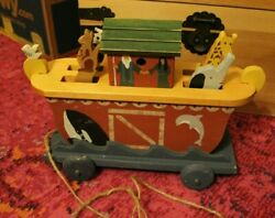 Heritage Toys Handmade Noahs Ark Wooden Pull Toy Motion And Music Box