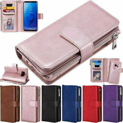 For Samsung S20 S10 S8 S9 Plus Note 20 10 9 Zipper Leather Wallet Case Removable