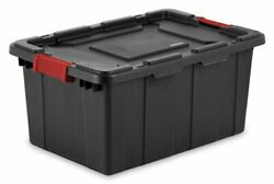 Sterilite 14649006 15 Gallon/57 Liter Industrial Tote, Black Lid And Base W/ Racer