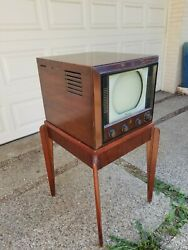 Vintage Antique Emerson 611 Tube Tv On Art Deco Stand 1948