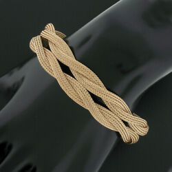Vintage 14k Rose Gold Woven Braided Wide Mesh Link Chain Engraved Clasp Bracelet