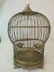 Antique Solid Brass Round Domed Bird Cage W Built In Feeder Cups And Perch Vintage