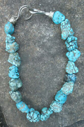 Vintage Navajo Old Pawn Turquoise Nugget Beaded Necklace Native American