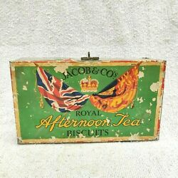 1930s Vintage Jacob Royal Afternoon Tea Biscuits Advertising Paper Tin Box