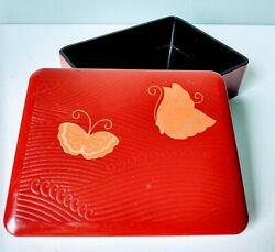 Vintage Japanese Lacquer Ware Butterfly Trinket Box Jewelry Spa Office Storageandnbsp