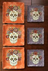 X6 Maxcera Sugar Skull Dinner And Salad Plates Square Halloween Day Of Dead Nwt