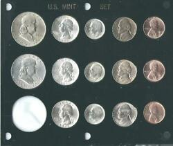 1948 P-d-s Us Mint Set-14 Coins- Brilliant Uncirculated In Black Capital Holder