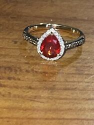 14k Solid Gold Mexican Fire Opal And Diamond Ring 4/5 Cttw - Size 8