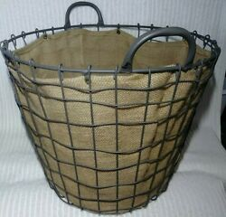 Wire Laundry Basket Handles Burlap Lined Farmhouse Country 15 Tall Metal Rustic