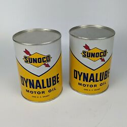 Sunoco Dynalube Sae 10w Hd 1 Quart Oil Can Lot - Part Full Vintage 1960 Usa 12