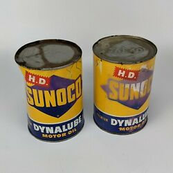 1952 Sunoco Dynalube Sae40 Hd 1 Quart Oil Can Lot Of 2 - Vintage Usa 3 Diamond