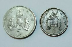 1969 Qeii Britain 5 New Pence + 1971 New Penny Coins Circulated Uk
