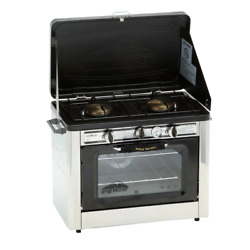 Portable Camping Outdoor Oven With 2 Burner Camping Stove With Thermometer New