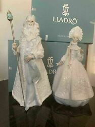 Retired Lladro Christmas Set 01008411 Father Frost 01008412 Snow Maiden New Box