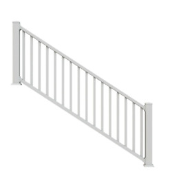 3 Ft. Vinyl Stair Rail Kit With Square Balusters With Rails And Brackets New