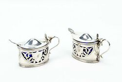 Two Antique Mustard Pots And Spoons In Sterling Silver 1900