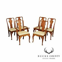 Statton Vintage Set 6 Solid Cherry Queen Anne Dining Chairs