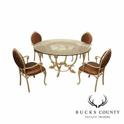 Tuscan Style Quality Cast Aluminum 60 Inch Round Glass Top Kitchen, Dining Set