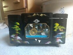 Black Lacquer Japanese Jewelry Box With Animated Music Box Vintage