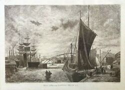 Original- New York From Newtown Creek L.i. By Charles Henry Miller Etching C1878