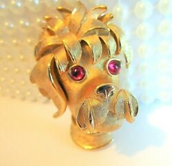 Vintage Crown Trifari Mint Condition Gold Plated 3-d Poodle Dog Figural Brooch
