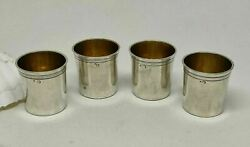 Lot 4 Antique French 1800and039s Sterling Silver Liquers Cup Small Tumbler Or Timbale