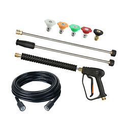 Power 4000 Psi High Pressure Washer Gun Wand Spray Nozzle Tips Kit Fitting
