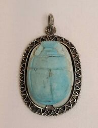 Vintage Sterling Silver Stone Scarab Bug Pendant Egyptian Jewelry Beetle Blue