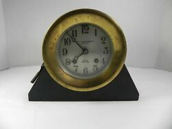 Chelsea Brass Shipand039s Bell Nautical Round1925-1929 Mantel Clock Stand And Key Works