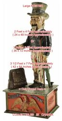 Uncle Sam 1886 Top Hat = Poster Mechanical Coin Bank 3 Sizes 4 / 6 / 7 Ft