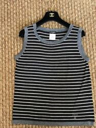 Black White And Silver Knit Sleeveless Top Size French 44 Us Medium