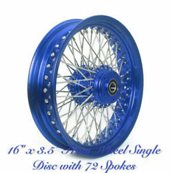 16x3.5 Aluminum Single Disc Silver Spoked Front Wheel For Dyna Softail Fatboy