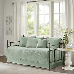 Seafoam Green Twin Daybed Set Embroidered Cover Farmhouse Country Bedding 6 Pcs