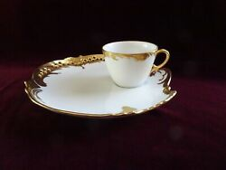 Set Of 4 Vintage Bone China Limoges Snack Luncheon Cup And Plate Sets, Gold Trim