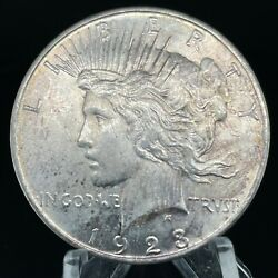 1923-d Peace Dollar, Toned , 90 Silver, Uncirculated Coin 56