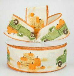 🍂 5 Yd X 2.5 Wide Fall Vintage Truck W/pumpkins And Hay Bales Wired Ribbon