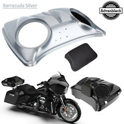 Barracuda Silver Dual 8and039and039 Speaker Lids Fit Advanblack/harley Razor Tour Pak Pack
