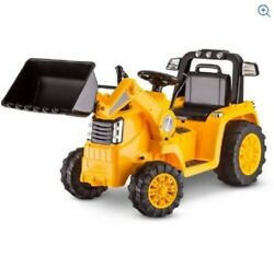 Kids Bulldozer Ride On Toy Battery Powered Backhoe Riding 6v Rechargeable Yellow
