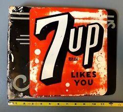 1947 Vintage 7up Likes You Metal Advertising Flange Sign Double-sided