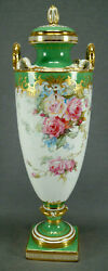 Minton Hand Painted L Rivers Pink Roses Blue Floral Green And Raised Gold Urn
