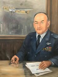 Antique Mid Century Air Force Oil Painting - B52 Bomber, Flying Tigers Wwii