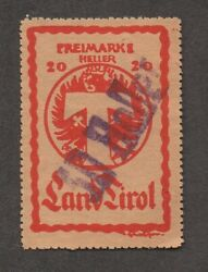 Austria, Tyrol Parcel Control Local Stamp, Thick Paper. Used, With Scarce Heller