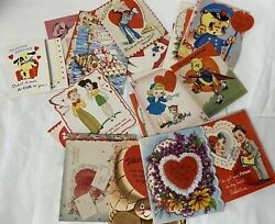 Vintage 1940s 1950s Valentineand039s Day Greeting Cards Lot Of 31 Used